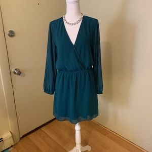 EXPRESS Dark Green Mini with Sheer Sleeves